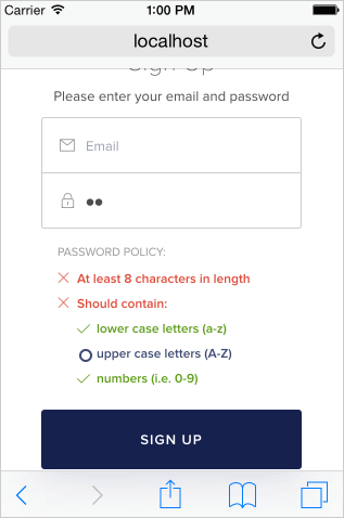 Password complexity rules dialog from Auth0, © Auth0 Inc