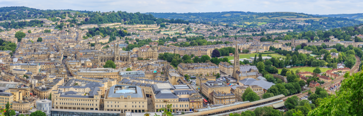 Aerial view of the City of Bath