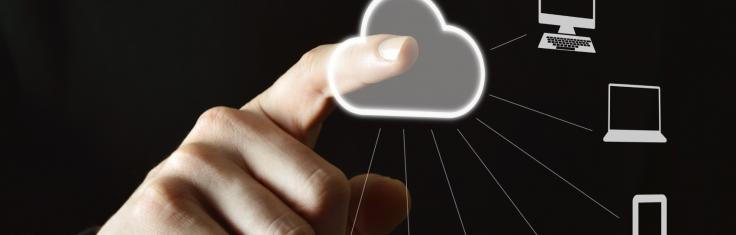 pointing at cloud icons