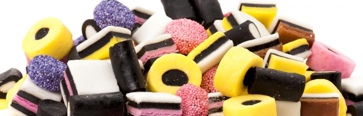 A pile of liquorice allsorts