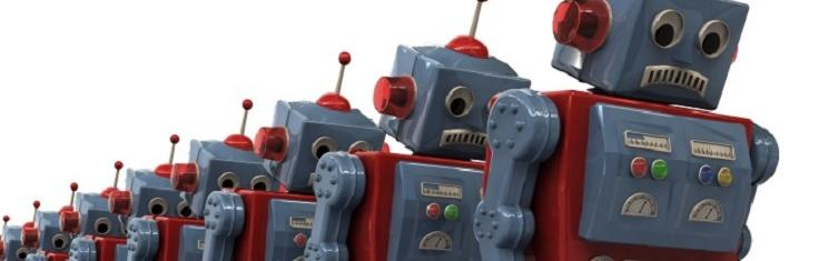 A line of frowning robots